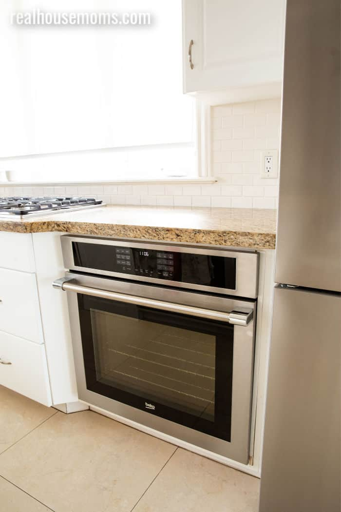 Beko built in wall oven installed under a kitchen counter top
