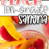 two pics of Peach lemonade sangria