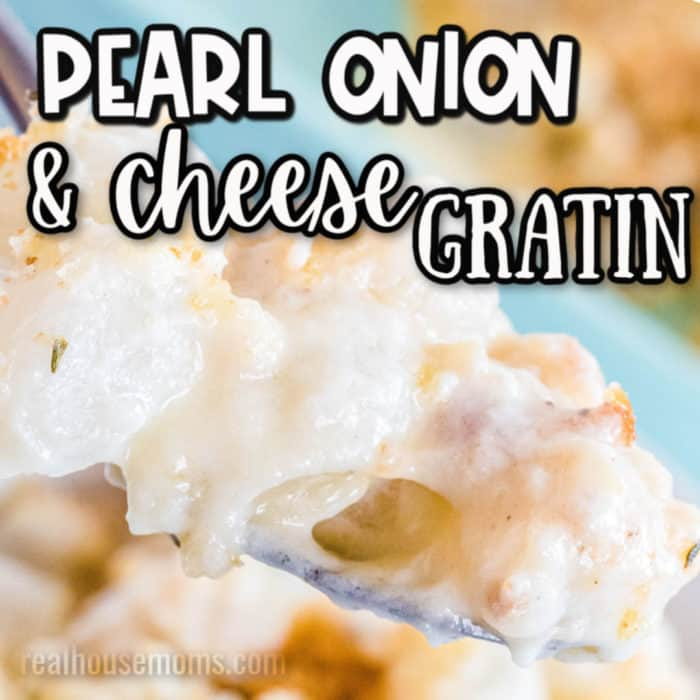 square image of pearl onion &cheese gratin