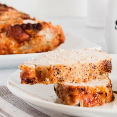 """Perfectly Moist Pork Loin is the ULTIMATE """"set it and forget it"""" recipe! It's easy to prep, easy to cook, tastes delicious & your house will smell amazing!!"""