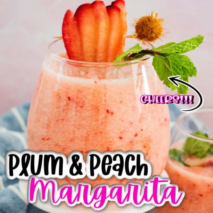 square image of Plum & Peach Margarita with strawberry garnish