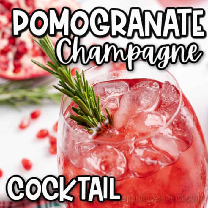 square image Pomegranate Champagne cocktail