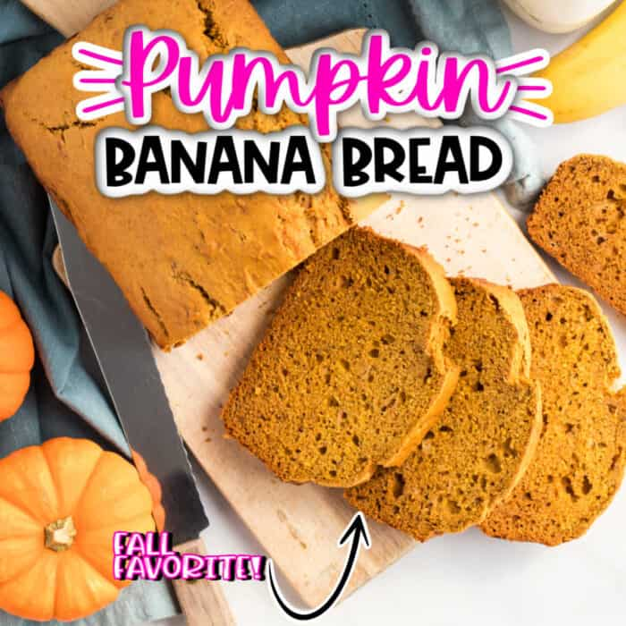 square image pf Pumpkin Banana Bread, loaf of bread cut into slices on top of wooden cutting board