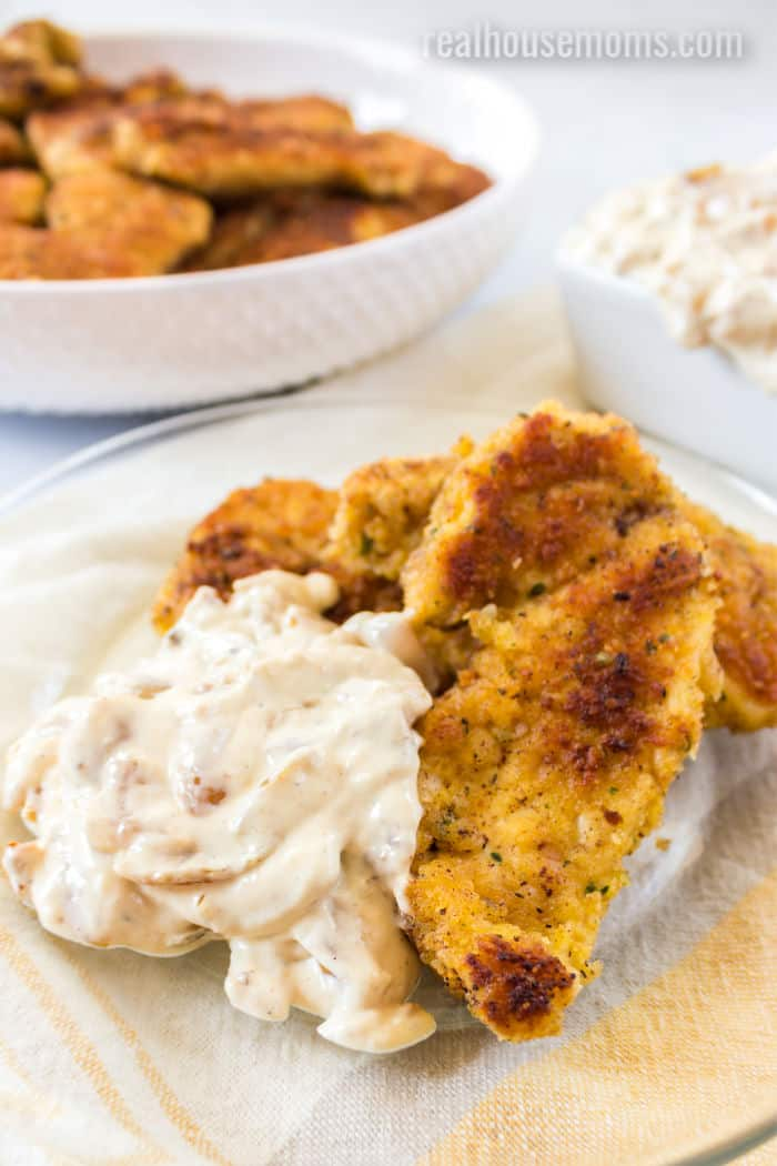 parmesan chicken tenders on a plate with onion dip