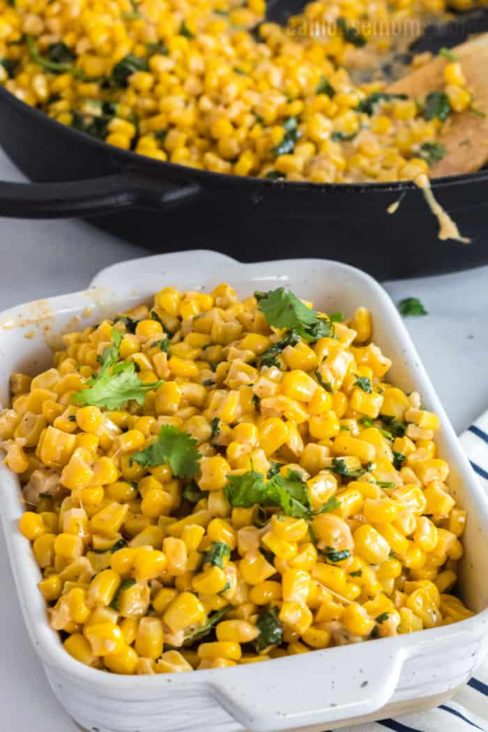 corn side dish in a serving bowl