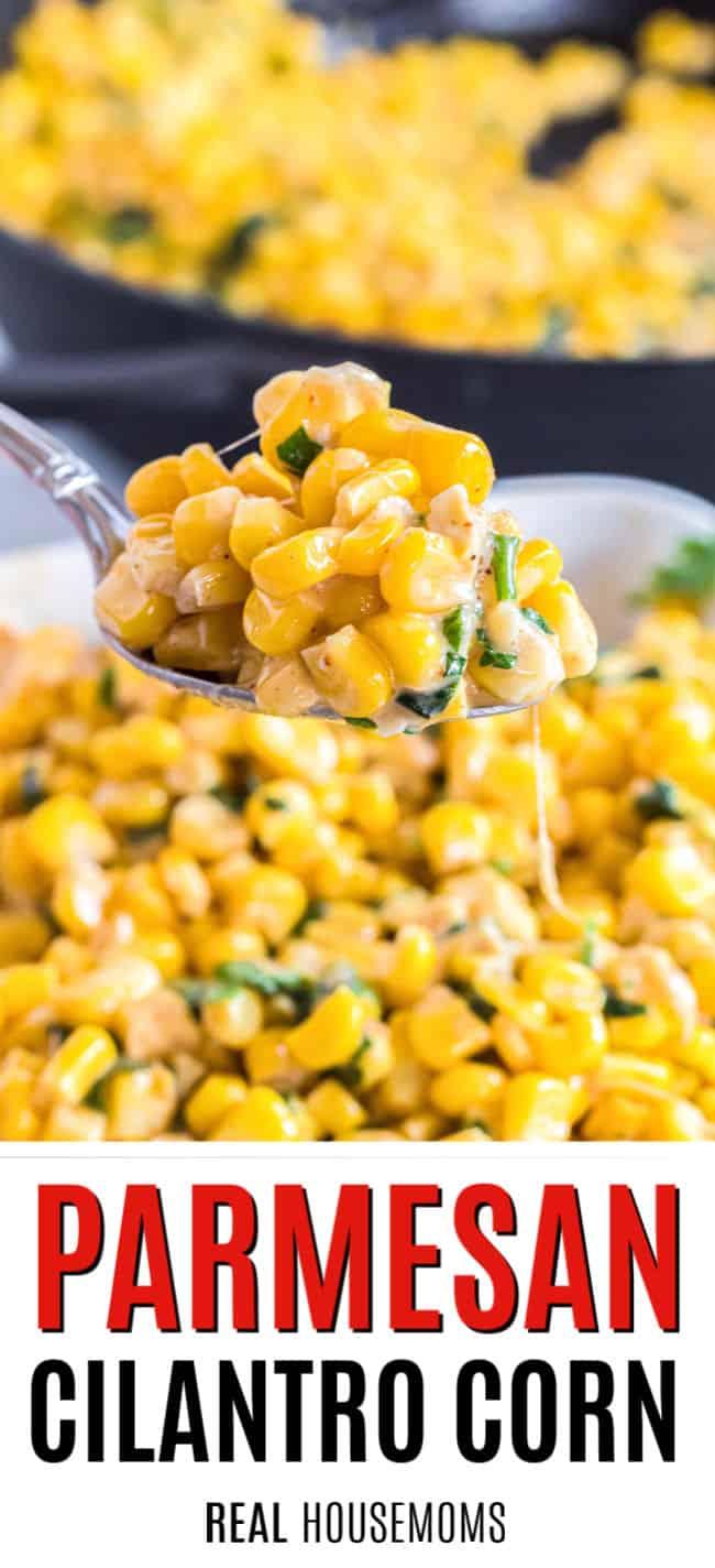 spoonful of parmesan cilantro corn