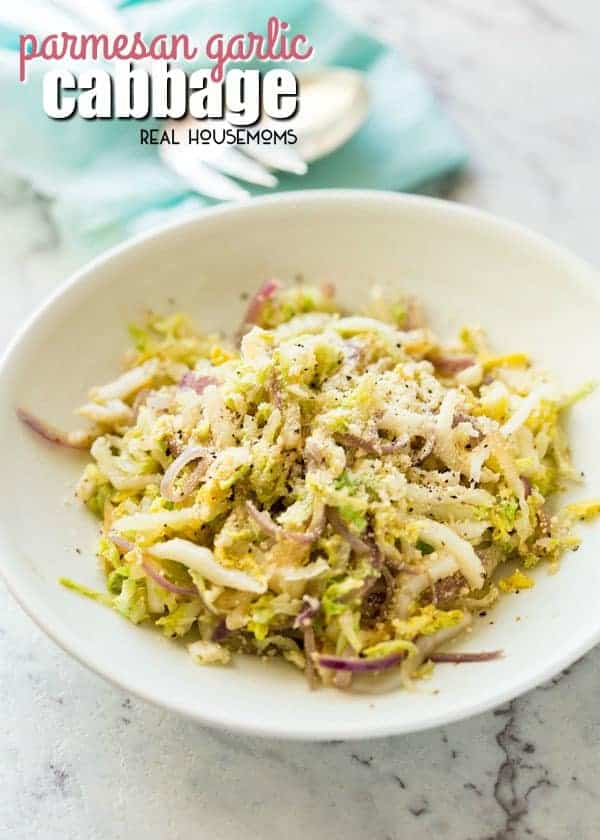 Parmesan Garlic Cabbage is a fabulous way to turn a cabbage into a side dish so tasty that even cabbage-haters will scarf this down!