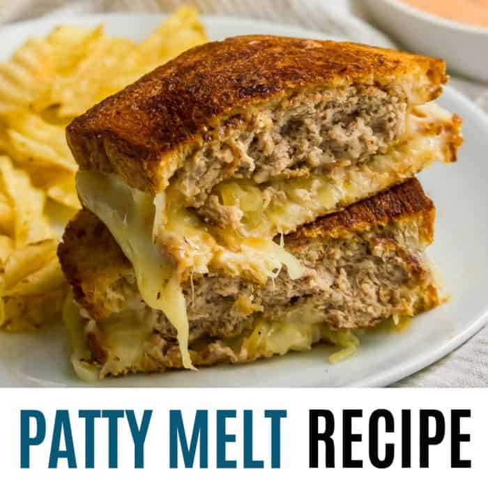 square image of patty melt recipe with text