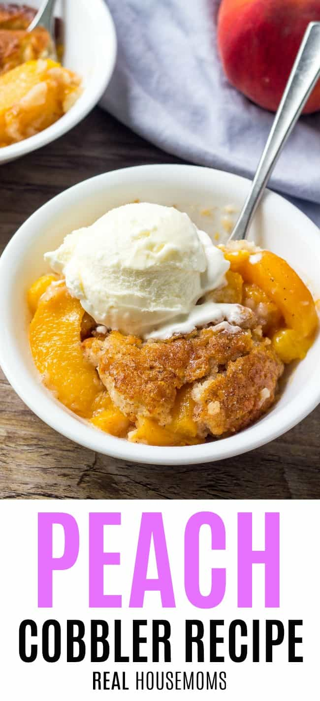 peach cobbler served in a bowl topped with vanilla ice cream