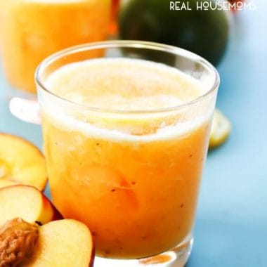 PEACH MANGO LEMONADE is a refreshingly easy recipe for a sweet summer drink that will become your favorite refreshment!