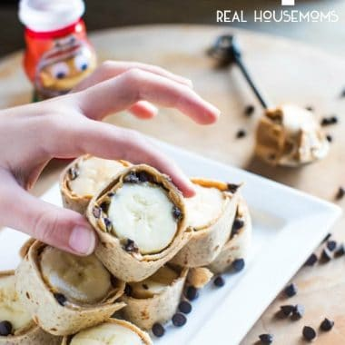 Peanut Butter Banana Roll Ups are a fun way to get the kids in the kitchen, making and eating a healthy snack to get them fueling their body for playtime!