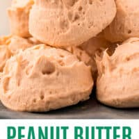 peanut butter cheesecake fat bombs piled on a plate with recipe name at the bottom