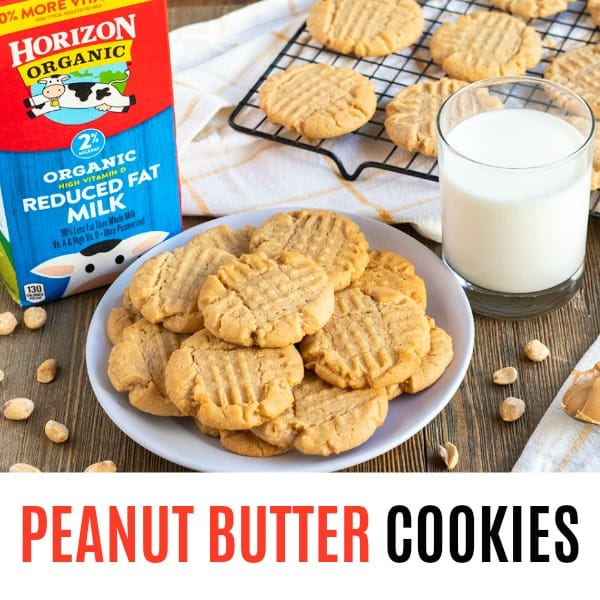 square image of peanut butter cookies with text