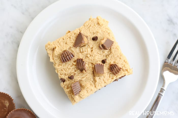 Make this CHOCOLATE PEANUT BUTTER CUP SHEET CAKE for your next family get together. All the chocolate peanut butter fans will go crazy for this cake!