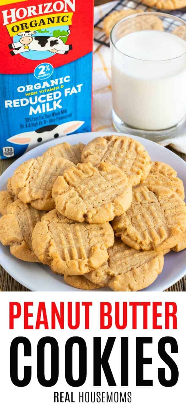 peanut butter cookies on a plate with a glass of Horizon Organic milk