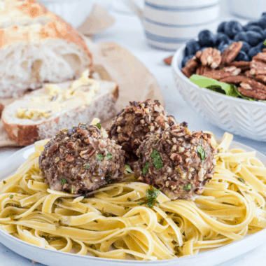 One bite of these Pecan Chicken Meatballs and you'll be hooked! Juicy on the inside with a delicious, nutty crunch on the outside!