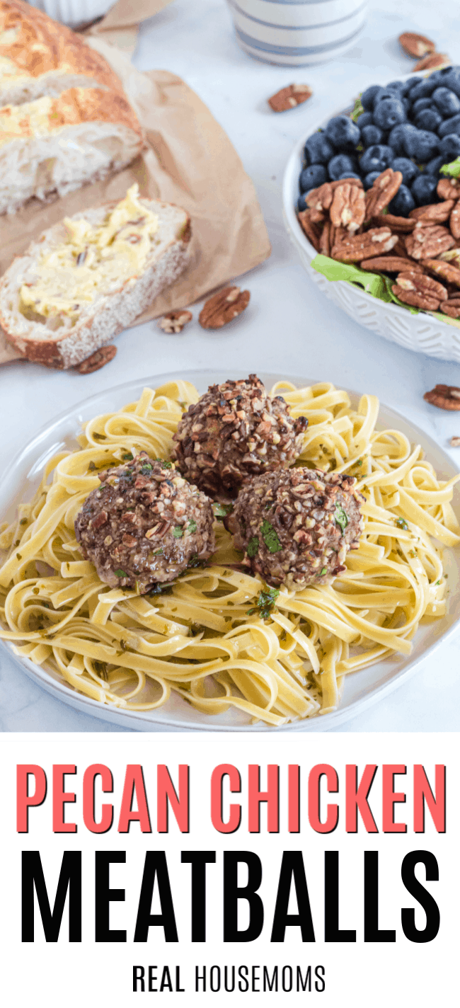 pecan chicken meatballs served over pasta