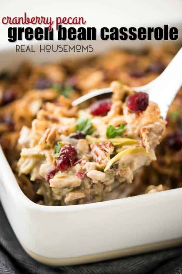 Cranberry Pecan Green Bean Casserole is an easy holiday recipe. It's a fun twist on classic green bean casserole and comes together in no time!