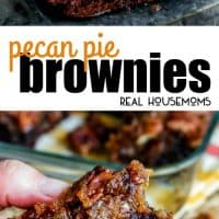 Pecan Pie Brownie sitting on a plate and being held and broken in half