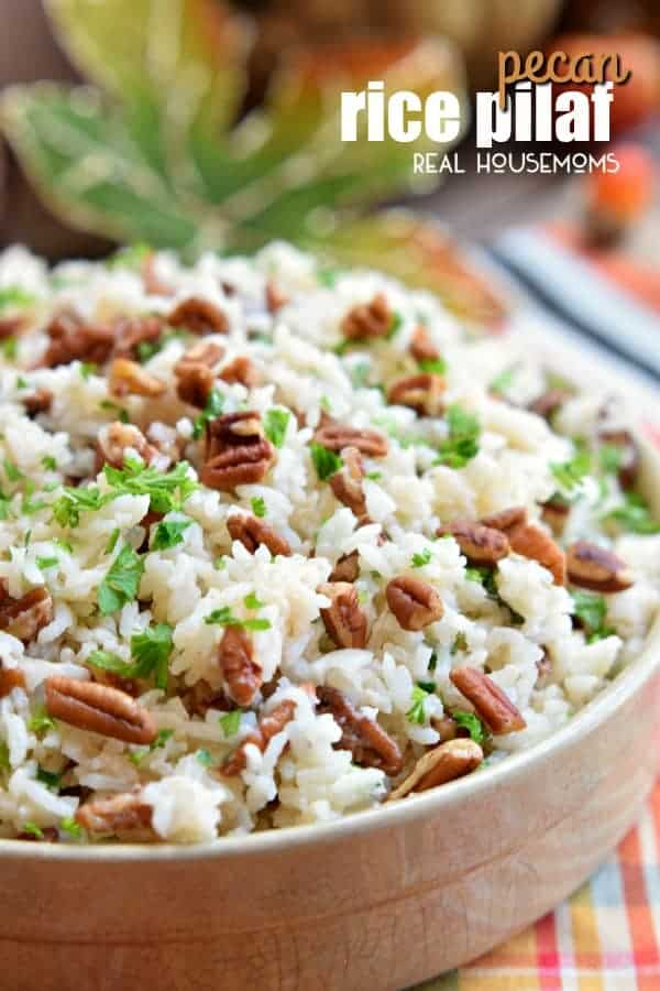 This Pecan Rice Pilaf is an easy Thanksgiving side dish that is full of rich fall flavors!