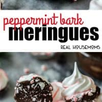 These sweet Peppermint Bark Meringues are made with just a handful of ingredients!  They're adorably festive with candy cane stripes, dipped in dark chocolate, and sprinkled with crushed candy cane pieces!