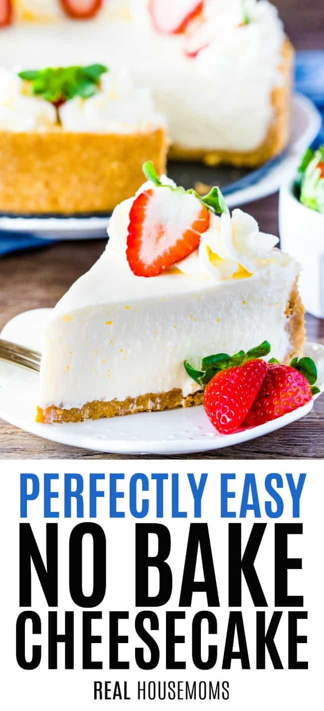slice on no bake cheesecake on a plate with strawberries