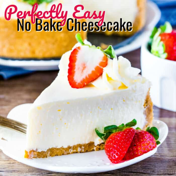 square image of no bake cheesecake with text