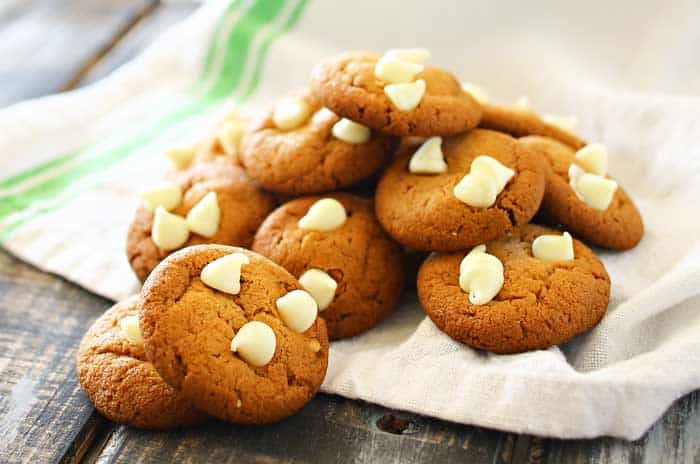 Peter Pan Peanut Butter Cookies are soft & chewy mini peanut butter cookies topped with white chocolate chips. They are adorable, fun & delicious!