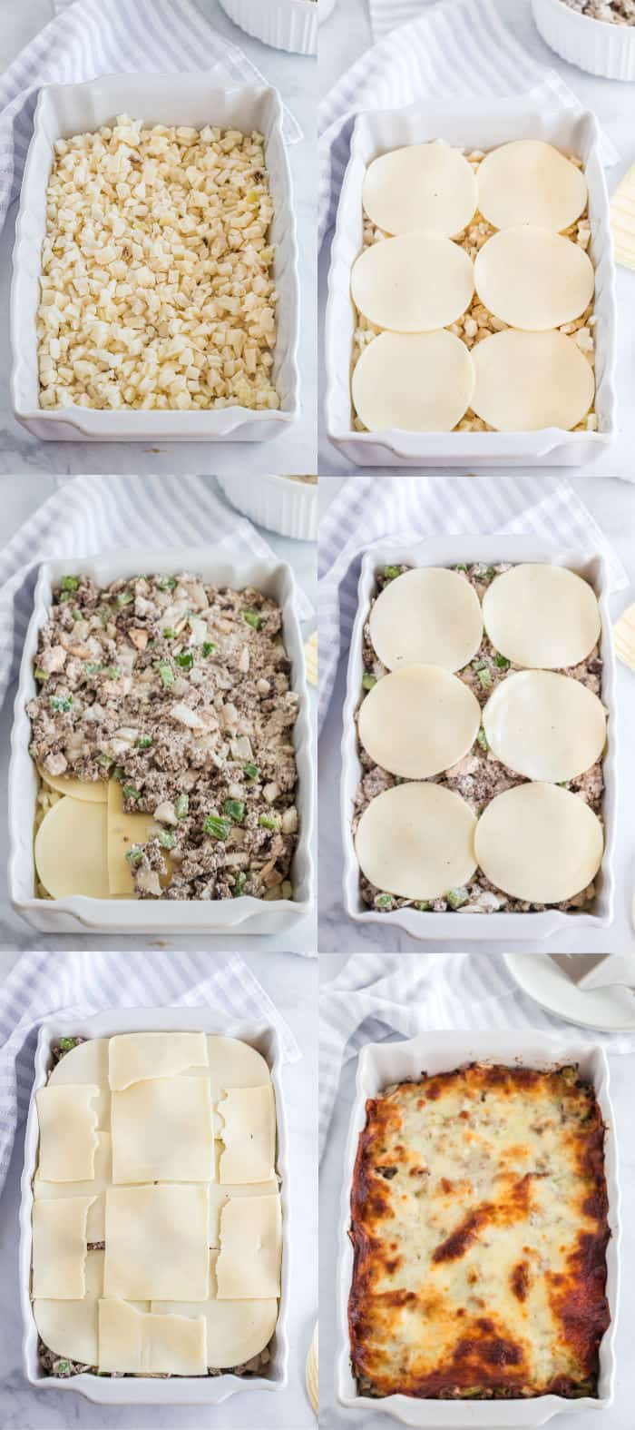 steps to layer cheesesteak casserole