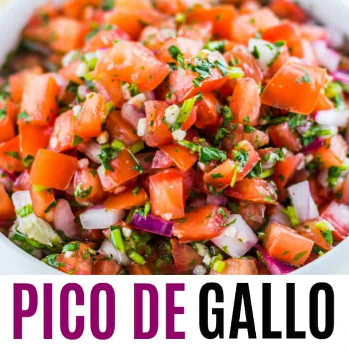 square image of pico de gallo with text