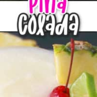Pina Colada with pinapple and lime garnish