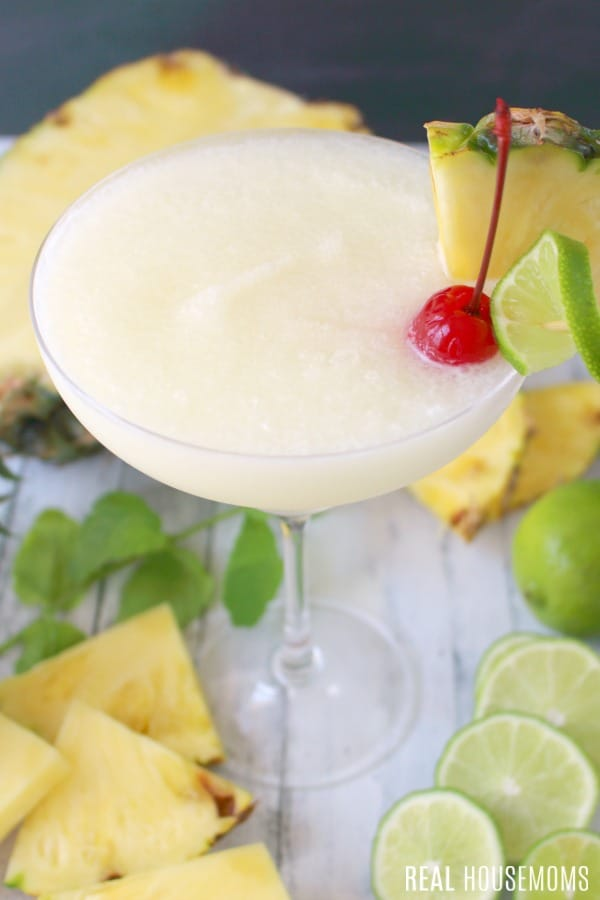 close up of a pina colada cocktail
