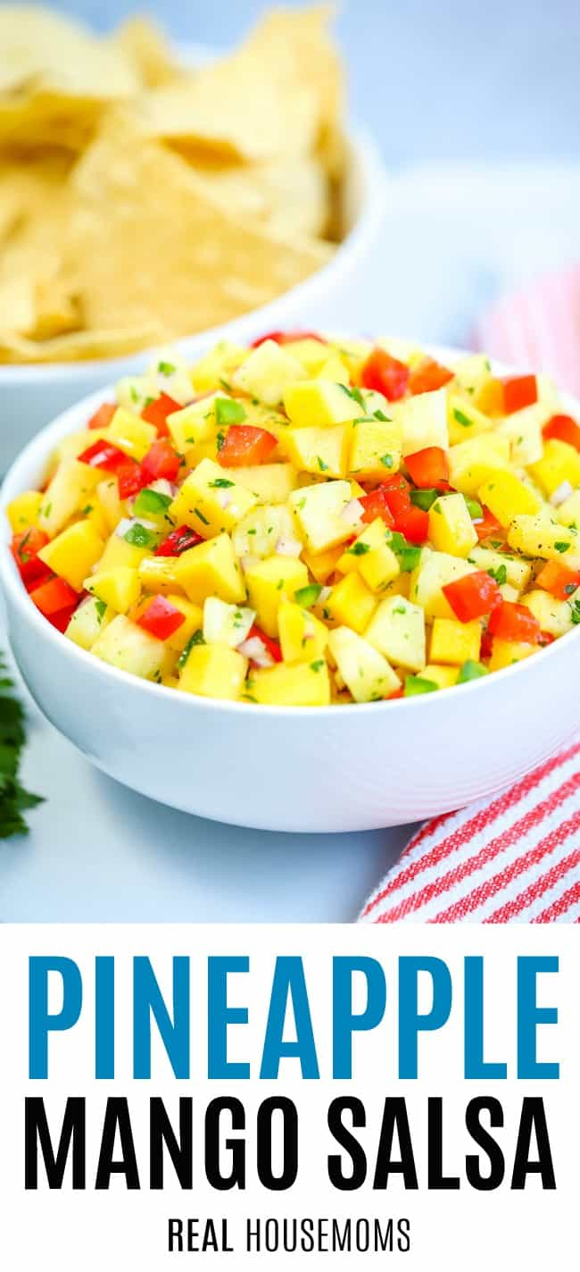 bowl of pineapple mango salsa