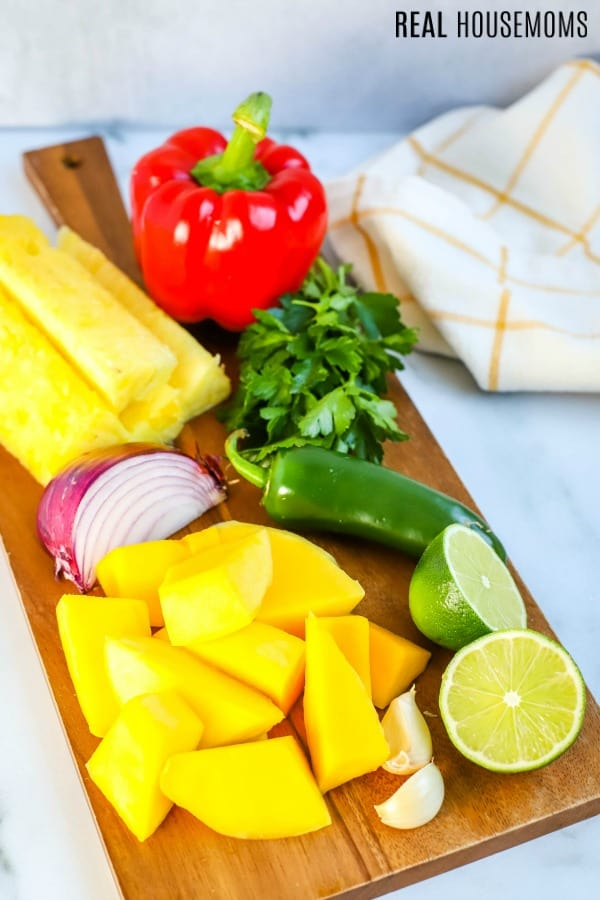 ingredients to make pineapple mango salsa