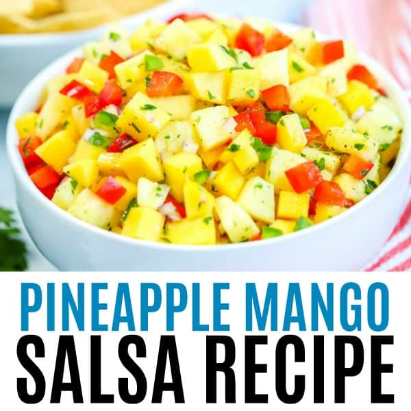 square image of pineapple mango salsa