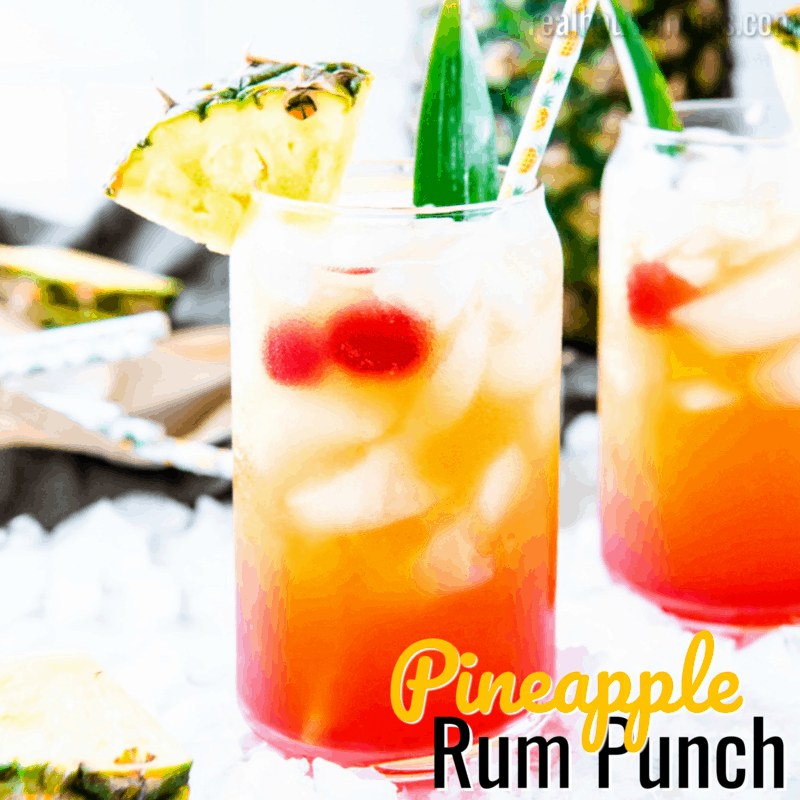 square image of pineapple rum punch with text
