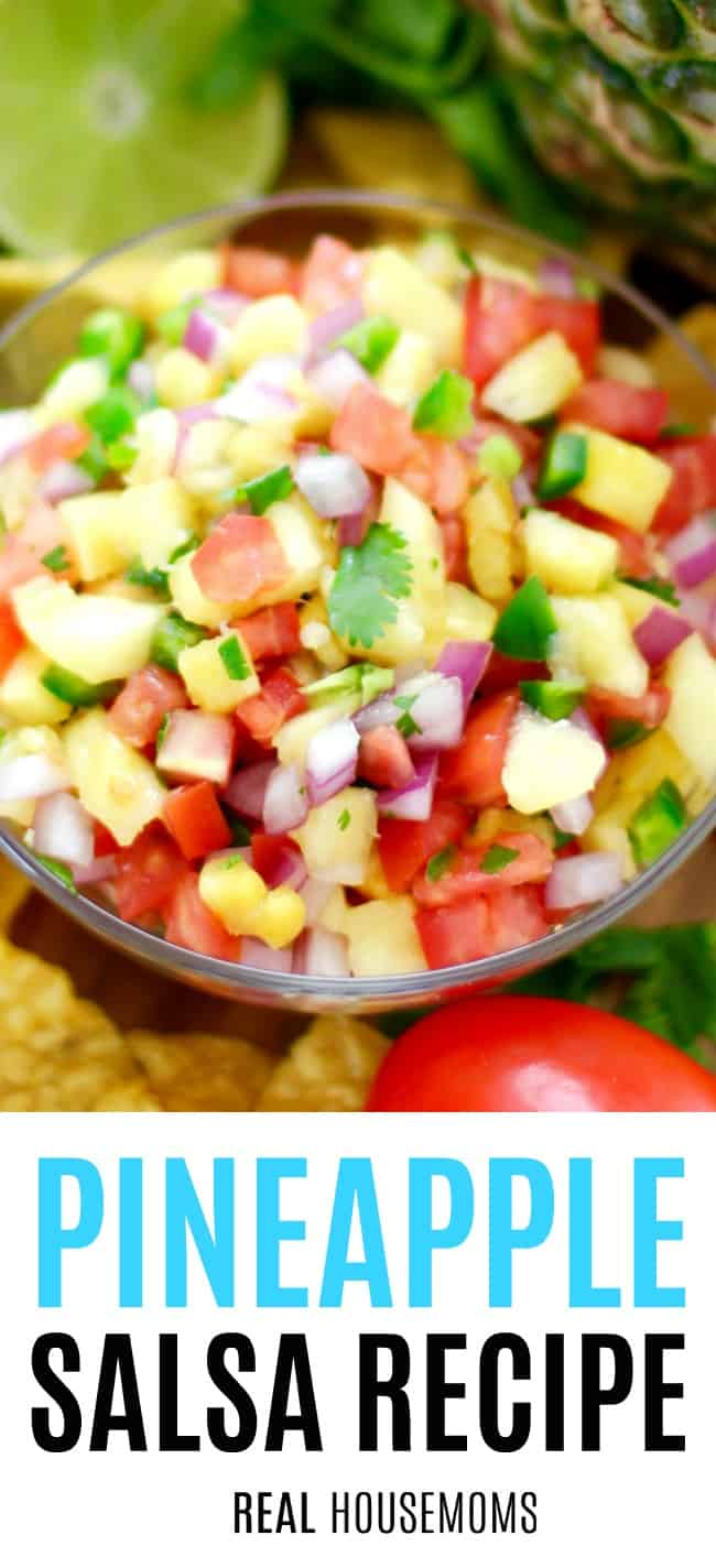 pineapple salsa in a glass serving bowl