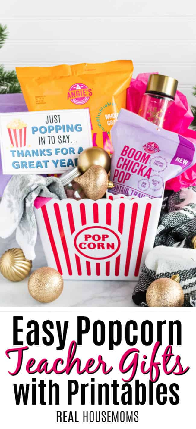 popcorn themed teacher gifts with printable card