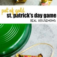 This easy St. Patrick's Day game is simple to play and great for large groups of all ages. All you need is a pair of dice, some string, gold candy, and a pot. Put them together and you have a great pot of game St. Patrick's Day party game!