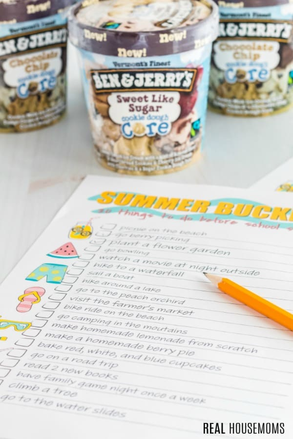 summer bucket list with Ben & Jerry's ice cream