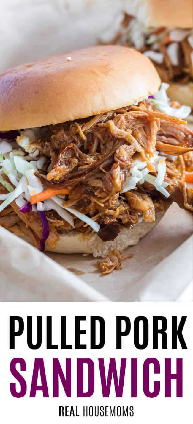 close up of a pulled pork sandwich with cole slaw