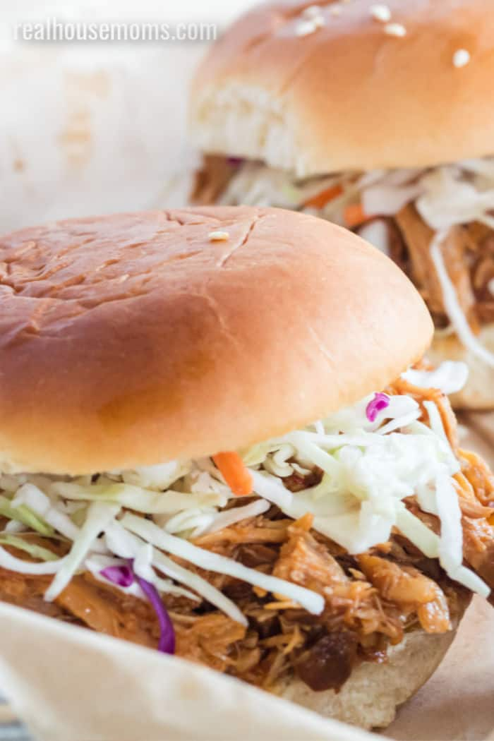 sandwich with pulled pork and cole slaw