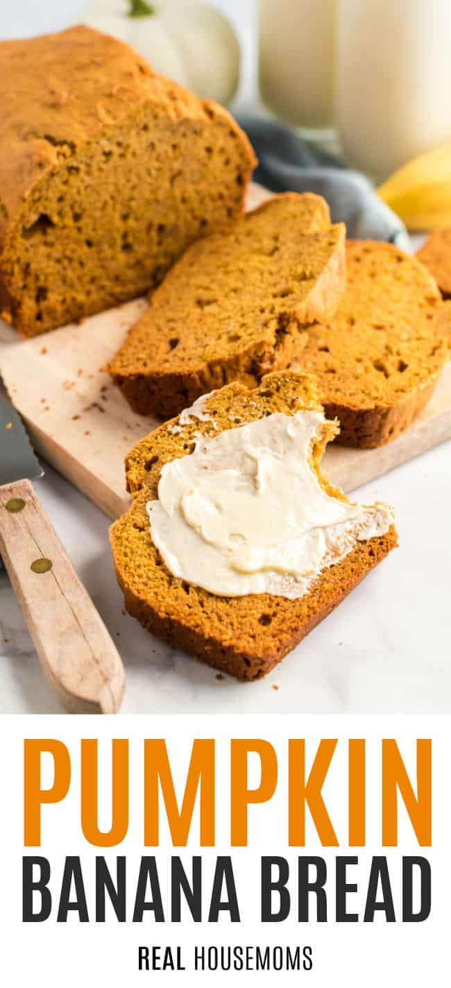 loaf of pumpkin banana bread cut into slices and one buttered slice with a bite taken out