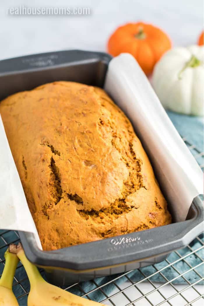 pumpkin banana bread in the pan after baking