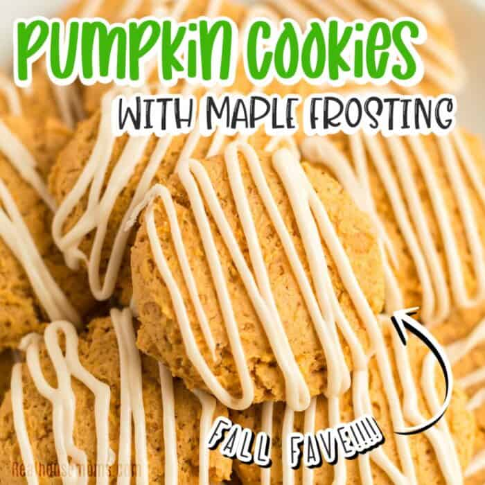 square image of close up of pile of pumpkin cookies