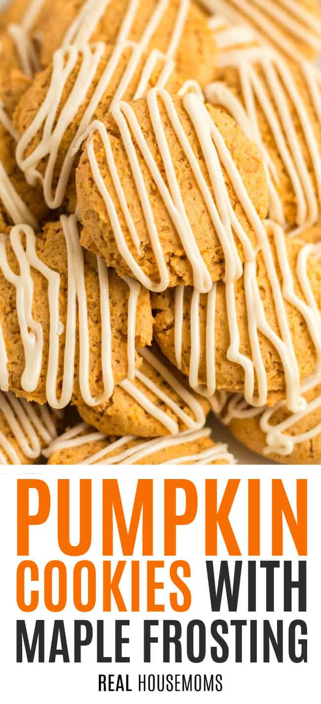 pile of pumpkin cookies with frosting on top