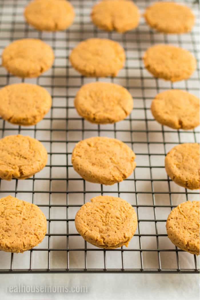 baked pumpkin cookies on a cooling rack