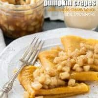 One bite and these PUMPKIN CREPES WITH MAPLE CREAM SAUCE will become your favorite fall dessert!