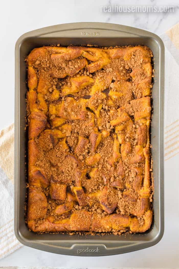 pumpkin french toast bake just after cooking