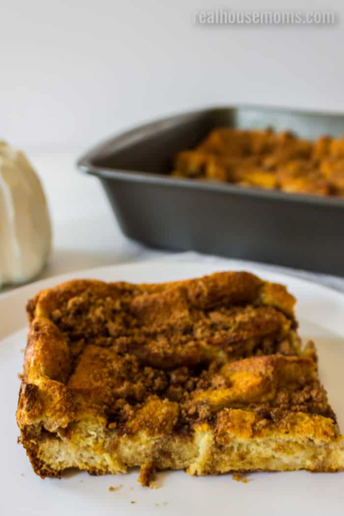 slice of pumpkin french toast bake on a plate